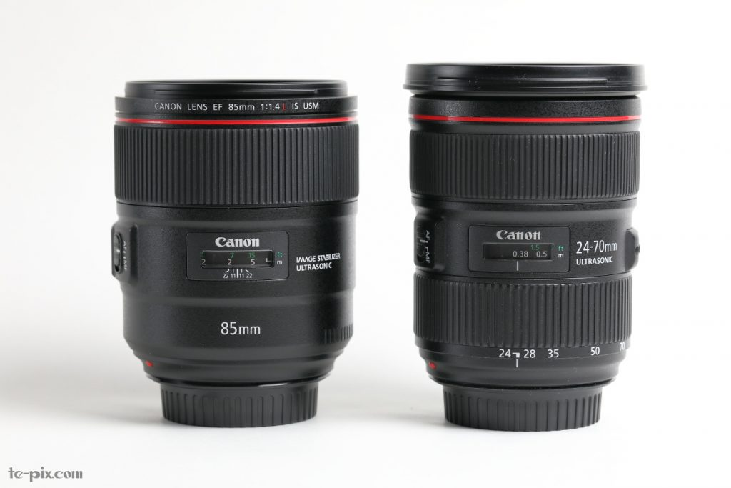 EF85mm F1.4L IS USMとEF24-70mm F2.8L II USMとの比較