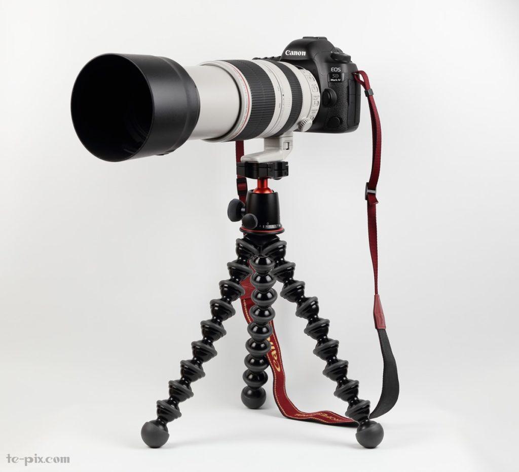 ゴリラポッド5Kに望遠レンズを取り付け